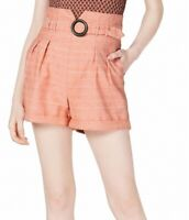 line and dot Women's Dress Shorts Salmon Pink Size Large L Ring Belt $78 #585