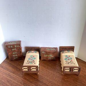 Vtg 4 Piece Renewal Bed Dresser Floral Stencil Dollhouse Furniture Miniatures