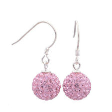 Genuine Authentic Solid Sterling Silver PINK Crystal Ball Dangle Earrings 4Women