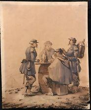 """BUJON E  """"SOLDATS ET LA CANTINIÈRE """" ENCRE ET LAVIS AQUARELLE  1874"""