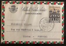 1955 Goa Portuguese India Air Letter Aerogramme Cover To Lisbon Portugal