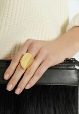 MAIYET LARGE GEOMETRIC HANDMADE GOLD PLATED BRASS RING Sz. 6