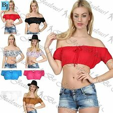 Bandeau Polyester Short Sleeve Tops & Shirts for Women