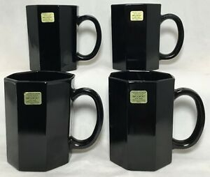 Vintage 4 Black Glass Arcoroc Octime France Mugs Cups Octagon NEW w/ Stickers