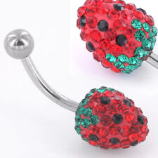 "14g 7/16"" Strawberry Delight Crystal Explosion Steel Belly Button Ring"
