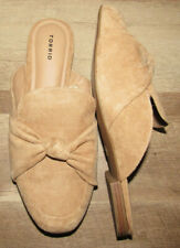 Torrid tan faux suede mules with decorative bow, Women's size 13 WIDE