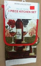 3pc SET:1 POT HOLDER,1 TOWEL & 1 OVEN MITT,WINE BOTTLE,GLASS, GRAPES & FLOWER,VP