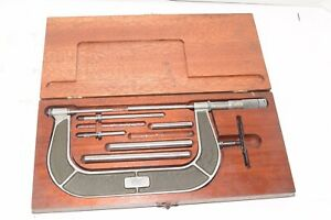 "Vintage Lufkin No. 846A 2-6"" Micrometer Caliper Set w/Wood Case"