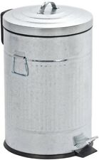 5.3 Gal. Trash Can w/ Liner Vintage Retro Design Zinc Plated Easy-Close Step-On