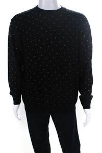 Sulka Mens Wool Polka Dot Crew Neck Sweater Black Size Large