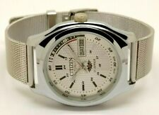 Citizen Automatic Men's Steel Silver Dial Day Date Vintage Japan Watch Run Order