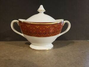 Royal Doulton Imperial Red Sugar Bowl With Lid/covered, Hard To Find! Rare!