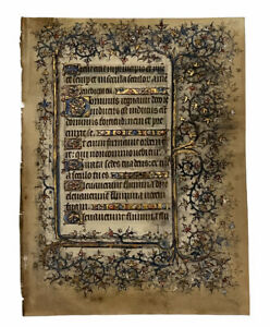 1408  LEAF FROM A HIGHLY IMPORTANT BOOK OF HOURS - ILLUMINATED MANUSCRIPT VELLUM