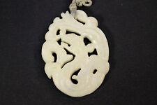 Antique Jade Dragon Pendant Woven Cord Bail Necklace 25 grams