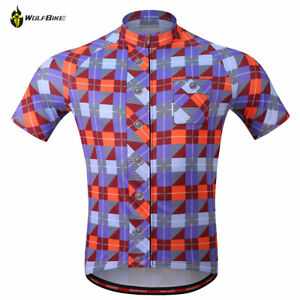 Mens Cycling Short Sleeve Jersey Mountain Bike Shirt Breathable Tops Dry Quick