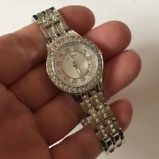 rhinestones on dial, bez. Lot 66K Silver tone round ladies Valletta watch with