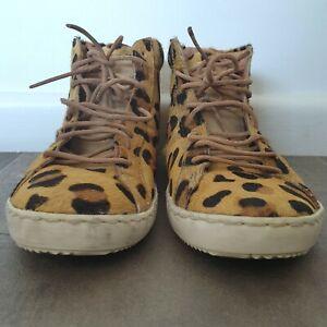 ONE x ONE TEASPOON - Size 39 leopard print ponyhair high top sneakers