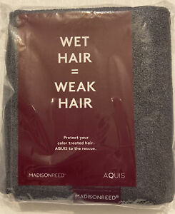 MADISON REED AQUIS HAIR TOWEL FAST DRYING ALL TYPES OF HAIR!! DARK GRAY TOWEL!