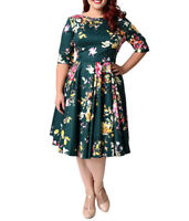 NEW Plus Size Women Vintage 50s Retro Rockabilly Pinup Party Swing Dress 2XL-9XL