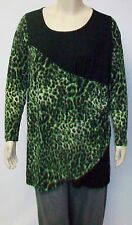 YOEK,DUTCH DESIGNER,LARGE,GREEN LEOPARD AND BLACK PRINT TUNIC,MADE IN TURKEY.