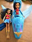 """LOt DC Super Hero Girls 12"""" Wonder Woman and 20"""" Invisible Jet Plane Airplane"""