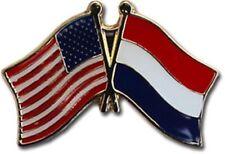 Pack of 3 USA American Netherlands Friendship Flag Bike Hat Cap lapel Pin