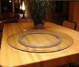 60CM ROUND COMPLETE SET LAZY SUSAN CLEAR TOUGHENED GLASS 600MM + BEARING RING UK