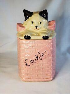 Vintage McCoy Kitten / Cat In Pink Basket Cookie Jar 1950's