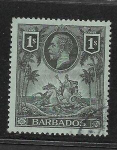 Barbados Scott #124 used 1912 Definitive 1 shilling black & green George V f/vf