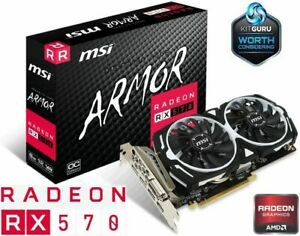 AMD MSI Armor Radeon™ RX 570 4G OC Edition 4GB, 256-Bit MECH 2 Graphics Card GPU