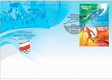 SOCHI 2014 FDC POLAND - Polish Olympic stamps SKI JUMPING CROSS COUNTRY skiing