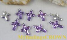 400 pcs Purple cross acrylic charms W1766