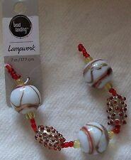 "Bead Landing Round Lampwork Bead Set 7"" Red, White & Gold **New on card"