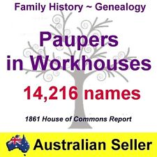 Family History Tree Genealogy England Paupers Workhouses Report Names DVD New