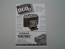 advertising Pubblicità 1941 KODAK DUO II/PELLICOLE PANATOMIC