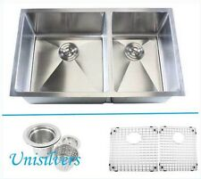 "32"" 15mm (1/2"") Radius 60/40 Double Bowl Stainless Steel Square Kitchen Sink"