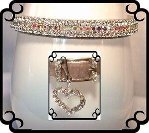 ~ Silver Velvet Aurora Sparkle ~ Crystal Rhinestone Dog Collar #293
