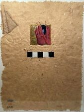 CHRISTOPHER PEKOC B-1941 OHIO STITCHED MIXED MEDIA MODERNIST ABSTRACT COLLAGE