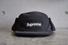 Supreme Polartec Fleece Earflap Black Box Logo Camp Cap Small/Medium