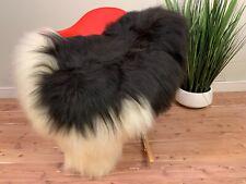 Icelandic White Black Sheep Skin Rug Pelt Genuine Natural Seat Cover Leather