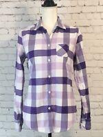 American Eagle Womens Shirt Size 8 Purple White Plaid Long Sleeve Button Up