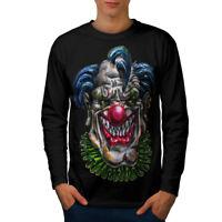 Wellcoda Evil Monster Clown Mens Long Sleeve T-shirt, Scary Graphic Design