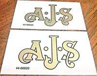 "AJS Logo gold with black edge 3.5 x 2"" vinyl tank transfer stickers pair,1947-74"