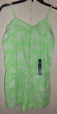NWT GIRLS Gap Kids GREEN & WHITE LEAF PRINT ROMPER / COVERUP  SIZE XL