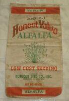 Rare Vintage Honest Value Alfalfa Dubuque Seed Co. Canvas Sack / Bag Iowa (A4)