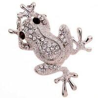 superbe broche grenouille métal argenté & strass