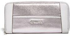 NWT Guess Delaney Wristlet Wallet Purse Zip Clutch Metallic Silver