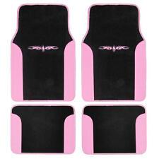 Car Floor Mats Carpet Tattoo Design 2 Tone Color Liner 4 Piece Pink Black