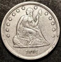 1861 Seated Liberty Quarter 25c Civil War Date High Grade Detail RPD Mint Error