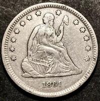 1861 Seated Liberty Quarter 25c Civil War Date High Grade Detail RPD Mint Error